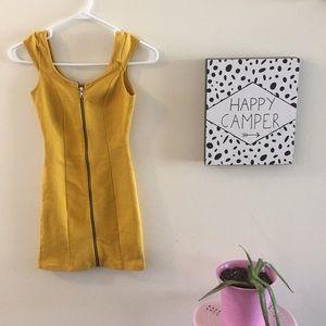 H&M Mustard front zipper mini dress size 2